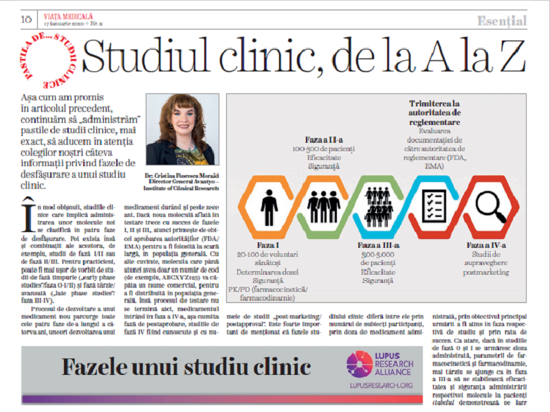 """""""The clinical trial, from A to Z"""", an article in Viata Medicala magazine at the beginning of 2020"""