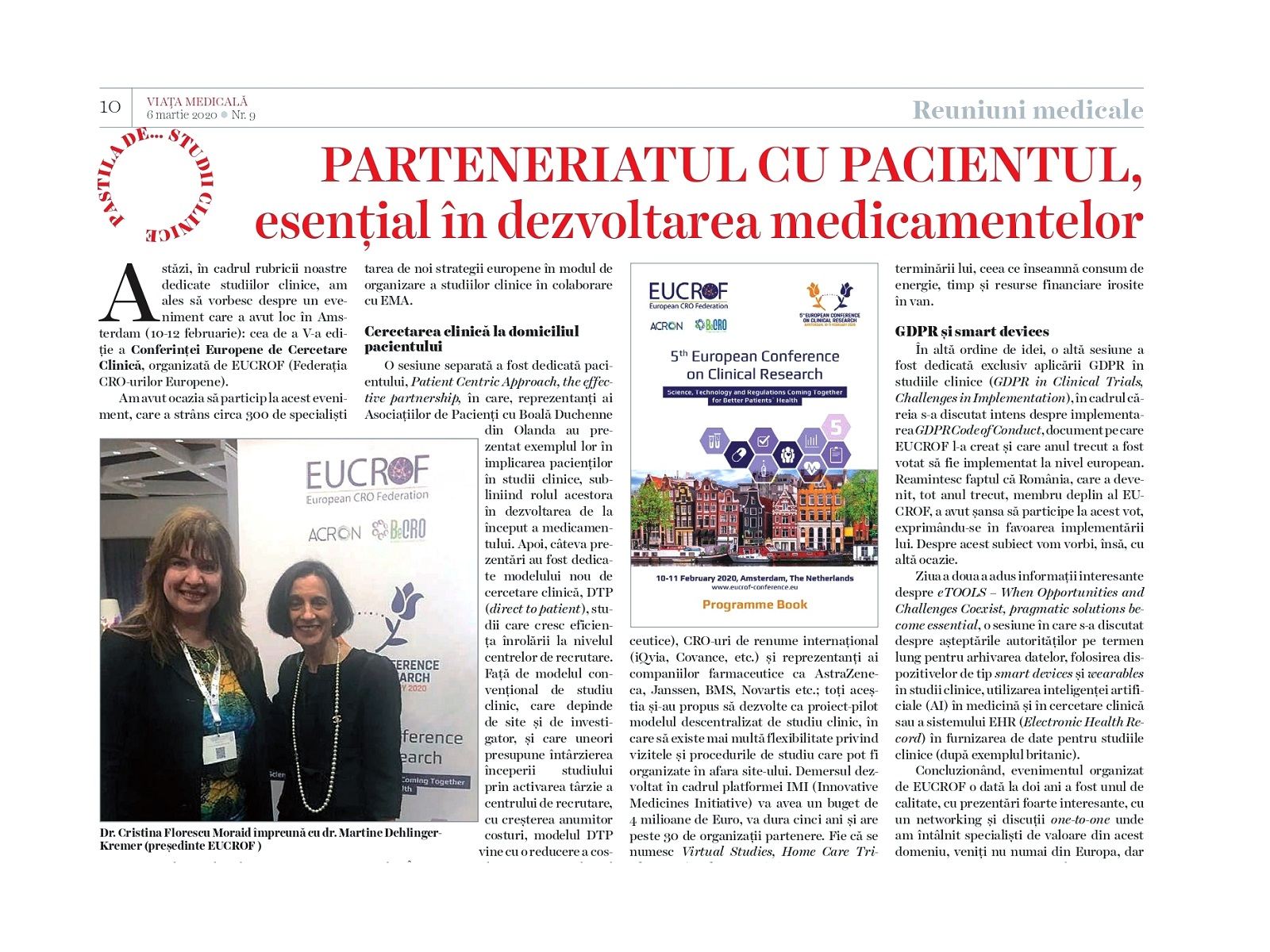 """""""Patient Centric Approach, the effective partnership"""" - Avantyo article in Viata Medicala magazine"""