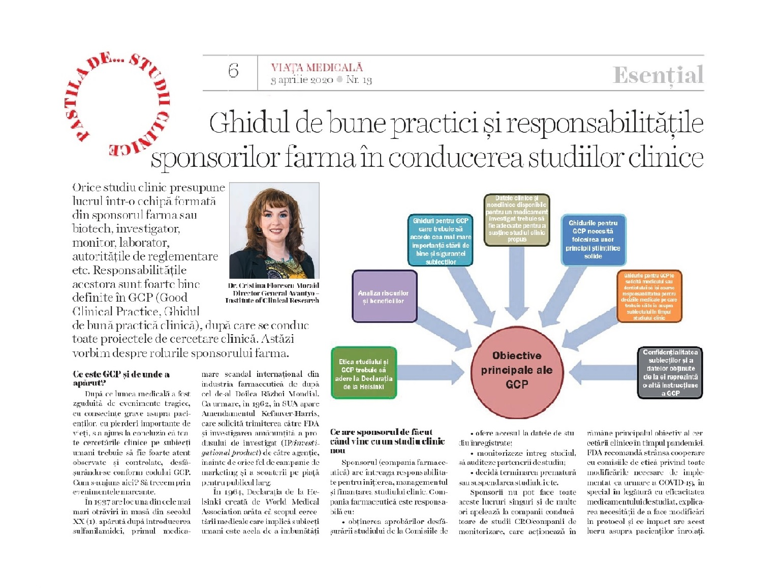 The Good Clinical Practice (GCP) and the responsibilities of  pharma sponsors  - Avantyo article in Viata Medicala magazine