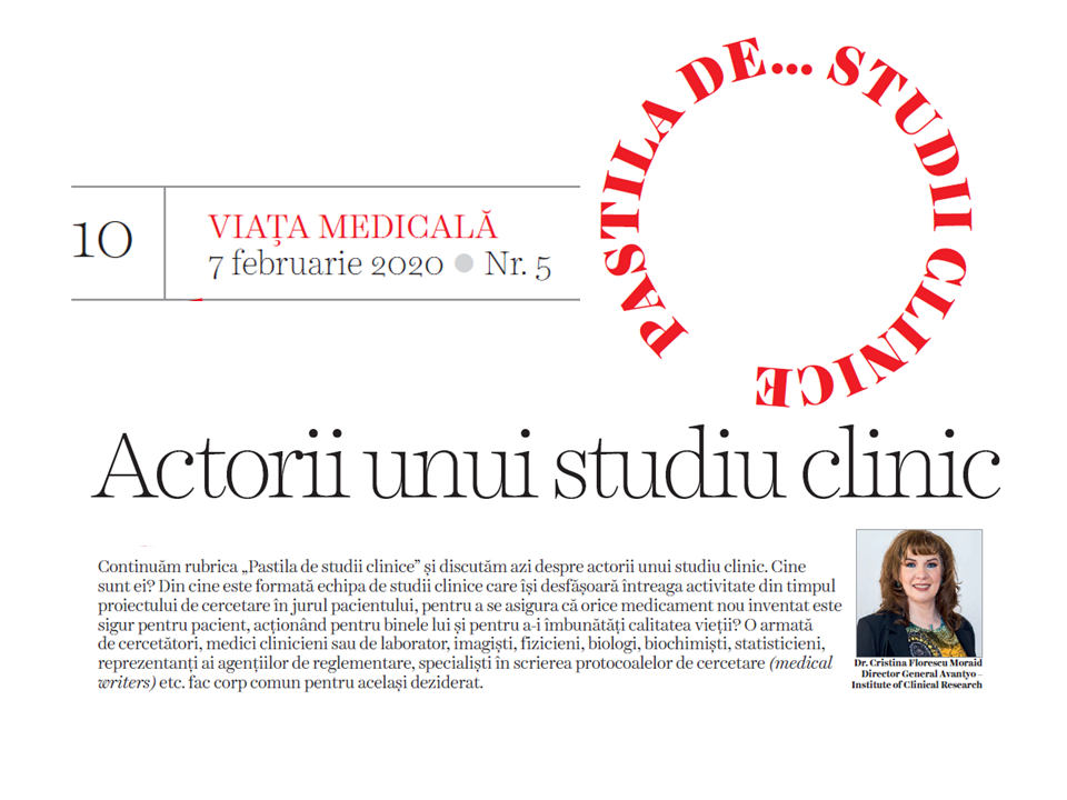 About the actors of a clinical trial - Avantyo article in Viata Medicala Magazine